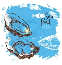 Hand drawn sketch seafood  sea vector