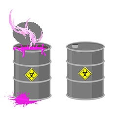 Barrel with biohazard grey barrel with pink vector