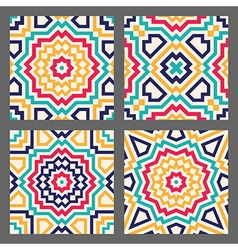 Four tiles with abstract geometric pattern vector