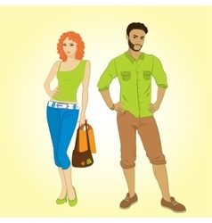 Man and shopping girl vector