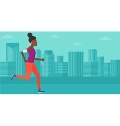 Woman jogging with earphones and smartphone vector