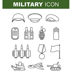 Military line icon set army symbol soldiers helmet vector