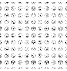 Seamless pattern of hand drawn lines smiles vector