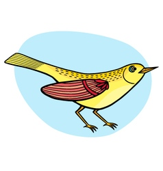 Cartoon beautiful yellow bird vector