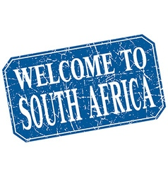 Welcome to south africa blue square grunge stamp vector