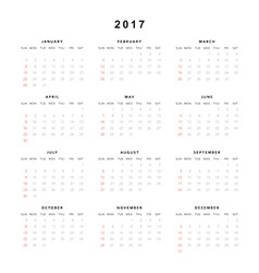 Calendar 2017 year simple style week starts from vector
