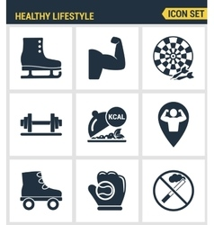 Icons set premium quality of healthy lifestyle vector
