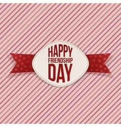 Friendship day festive emblem and red ribbon vector