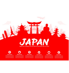 Beautiful japan travel landmarks vector