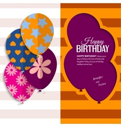birthday card with paper balloons and text vector image vector image