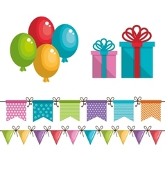 birthday icons decoration with white background vector image