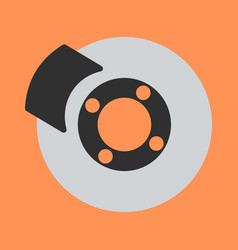 Car brakes flat icon on background vector