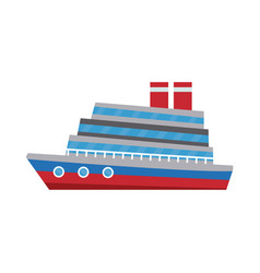 cartoon cruise ship sea transport travel vacation vector image