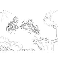 Children driving a flying car -coloring vector