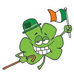Clover Character Wearing A Green Hat vector image