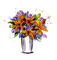 colored hand sketch flower bouquet vector image vector image