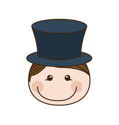 Colorful caricature front face boy with cap vector