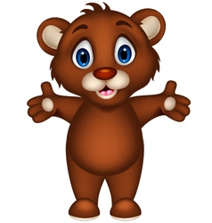 cute baby brown bear cartoon posing vector image