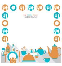 Dinner Restaurant and Eating Frame vector image vector image