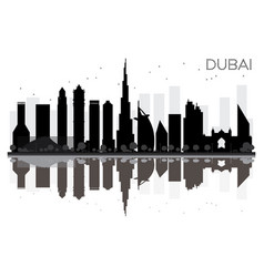 dubai city skyline black and white silhouette vector image