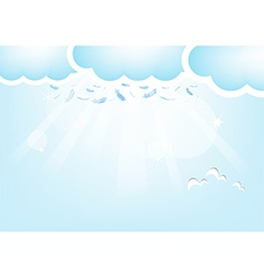 Feathers from the sky Blue Valentines Day backgrou vector image vector image