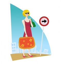 girl traveling vector image
