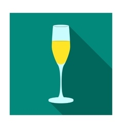 Glass of champagne icon in flat style isolated on vector