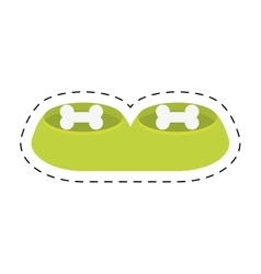 Green bowl food water pet animal line dotted vector