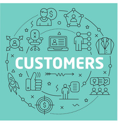 green line flat circle customers vector image