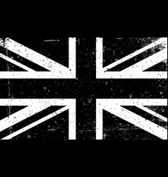 grunge black and white image of the british flag vector image