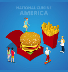 Isometric usa national cuisine with fast food vector