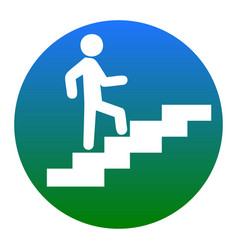 Man on stairs going up white icon in vector
