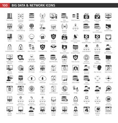 Network And Database Black Icons Set vector image vector image
