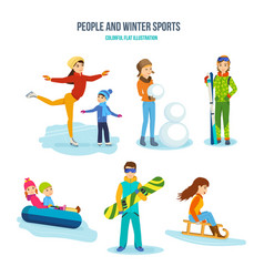People winter sports entertainment recreation vector