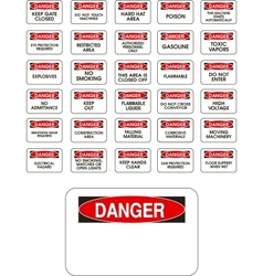 Red danger signs vector image