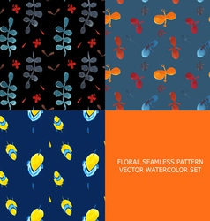 Seamless pattern watercolor set of 3 vector image vector image