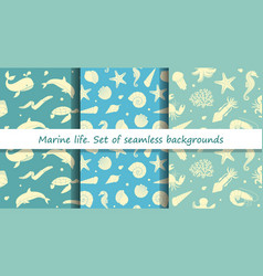 set of seamless backgrounds with marine animals vector image