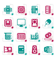 stylized computer performance and equipment icons vector image vector image