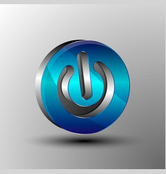 the 3d logo power button vector image vector image