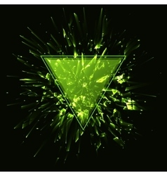 Triangular frame abstract green explosion vector