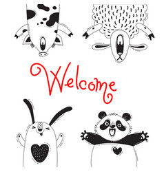 Welcome card with funny animals pig sheep panda vector
