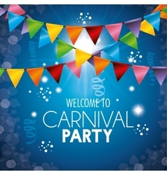 Welcome carnival party colored garlands light vector