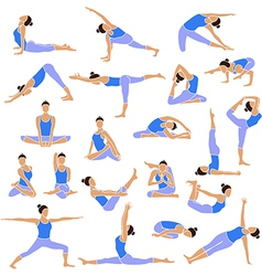 Yoga set icons vector image