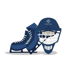 Ice skate helmet and winter sport design vector