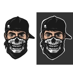 The guy in the bandana with a skull pattern vector image