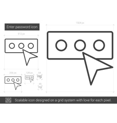 Enter password line icon vector