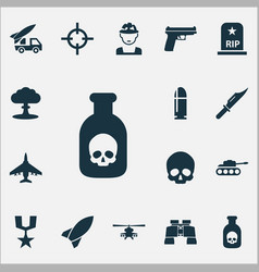Army icons set collection of weapons aircraft vector