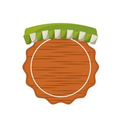 Wooden emblem grocery tent vector