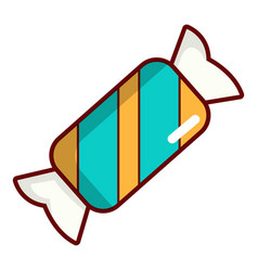 Blue striped candy icon cartoon style vector