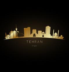 Golden logo tehran uae city skyline silhouette vector